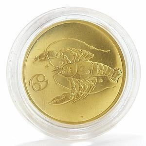 Russia 50 rubles Zodiac Cancer proof gold coin 2004