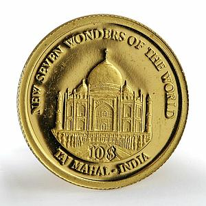 Solomon Islands 10 dollars Taj Mahal - India proof gold coin 2007