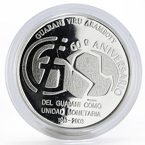 Paraguay 1 guarani 60th Anniversary of guarani proof silver coin 2003