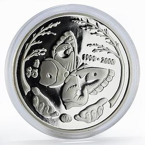 Mexico 5 pesos Millennium series Butterfly proof silver coin 2000