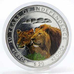 Namibia 20 dollars 10 Years of Independence Lion and lioness colored coin 2000
