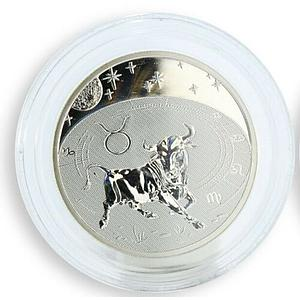 Cameroon 500 francs Zodiac - Taurus silver hologram coin 2010