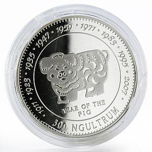 Bhutan 300 ngultrums Year of the Pig proof silver coin 1996