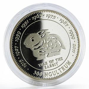 Bhutan 300 ngultrums Year of the Rabbit proof silver coin 1996
