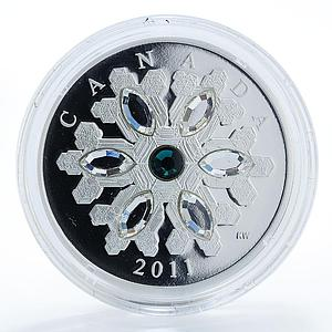 Canada 20 dollars Crystal Snowflake Green Emerald silver proof coin 2011