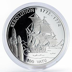 Vanuatu 100 vatu Sailing Ship HMS Resolution proof silver coin 1996