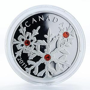 Canada 20 dollars Crystal Snowflake Hyacinth Red silver proof coin 2011