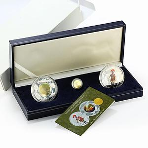 Cambodia set of 3 coins Colosseum Roman Centurion gold silver 2006 2007