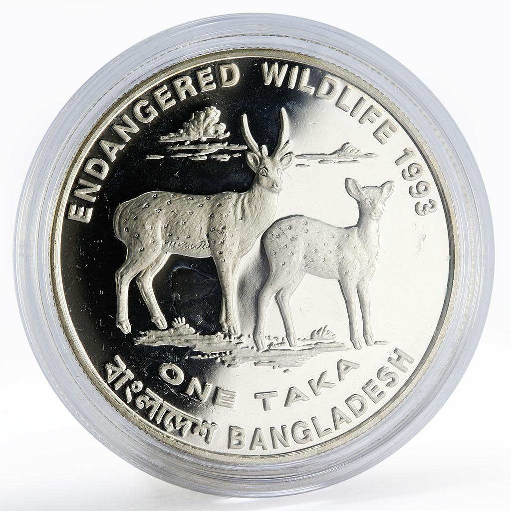 Bangladesh 1 taka Endangered Wildlife series Two Deers proof silver coin 1993