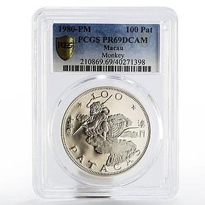 Macau 100 patacas Year of the Monkey PR-69 PCGS silver coin 1980