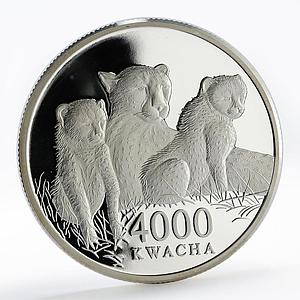 Zambia 4000 kwacha African Wildlife Leopard and two cubs proof silver coin 2000