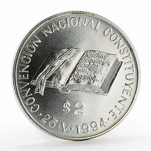 Argentina 2 pesos National Constitution Convention silver coin 1994