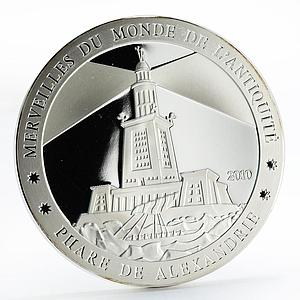 Ivory Coast 1500 francs Pharos Lighthouse of Alexandria proof silver coin 2010