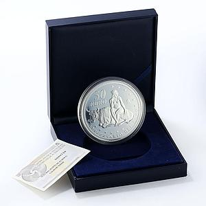 Spain 50 euro V Anniversary of Euro silver proof coin 2007