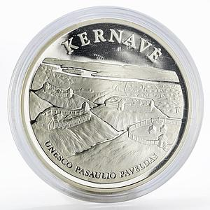 Lithuania 50 litu Architecture Castles Kernave silver proof coin 2005