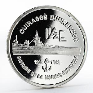 France 1 1/2 euro Cuirasse Dunkerque Ship silver proof coin 2004