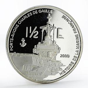 France 1 1/2 euro Porte-Avions Charles De Gaulle Ship silver proof coin 2004