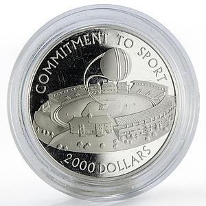 Guyana 2000 dollars Commitment to Sport Soccer Stadium proof silver coin 2007