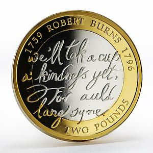 United Kingdom 2 pounds Robert Burns gilded silver proof piedfort coin 2009