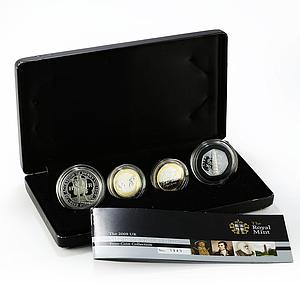 United Kingdom set of 4 coins Piedfort Collection proof silver coin 2009