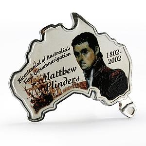 Uganda 5000 shillings Matthew Flinders proof silver coin 2002