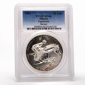 Albania 10 leke Equerestian Horse and rider Incuse PCGS MS66 silver coin 1991