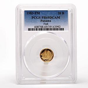 Panama 20 balboas Banded Butterfly fish PCGS PR69 gold proof coin 1983