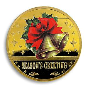 Christmas Bells, Seasons Greeting, Gold Plated Coin, Christmas, 2014, Token