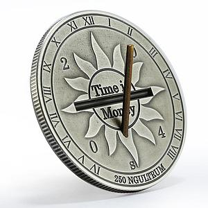 Bhutan 250 ngultrum Time is Money Luck Sun Clock gilded silver coin 2004