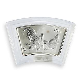 China 10 yuan Year of the Rooster proof silver coin 2005