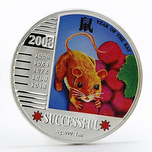 Niue 1 dollar Year of the Rat Successful colored silver proof coin 2008