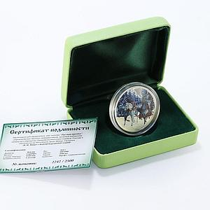 Tokelau 1 dollar Russian Troika Horses colored silver proof coin 2014