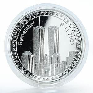 Congo 10 francs Remember 9-11-2001 proof silver coin 2006