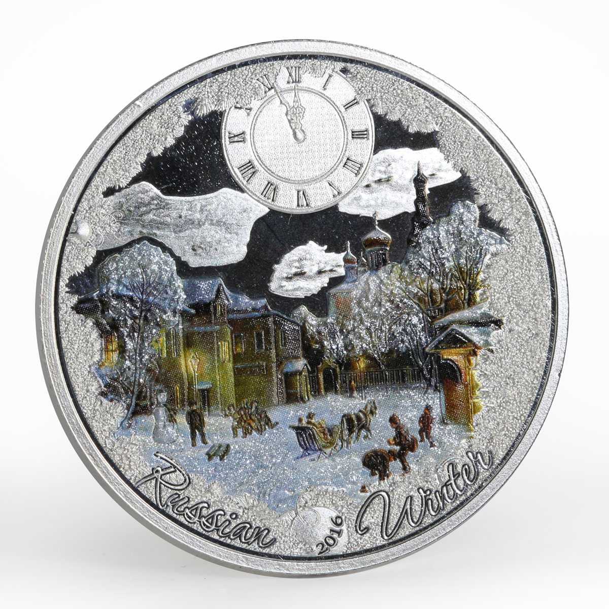 Congo 1000 francs Russian Winter Clock colored silver proof coin 2016