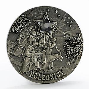 Poland 20 zlotych Christmas Carolers Zirconia Star silver coin 2001