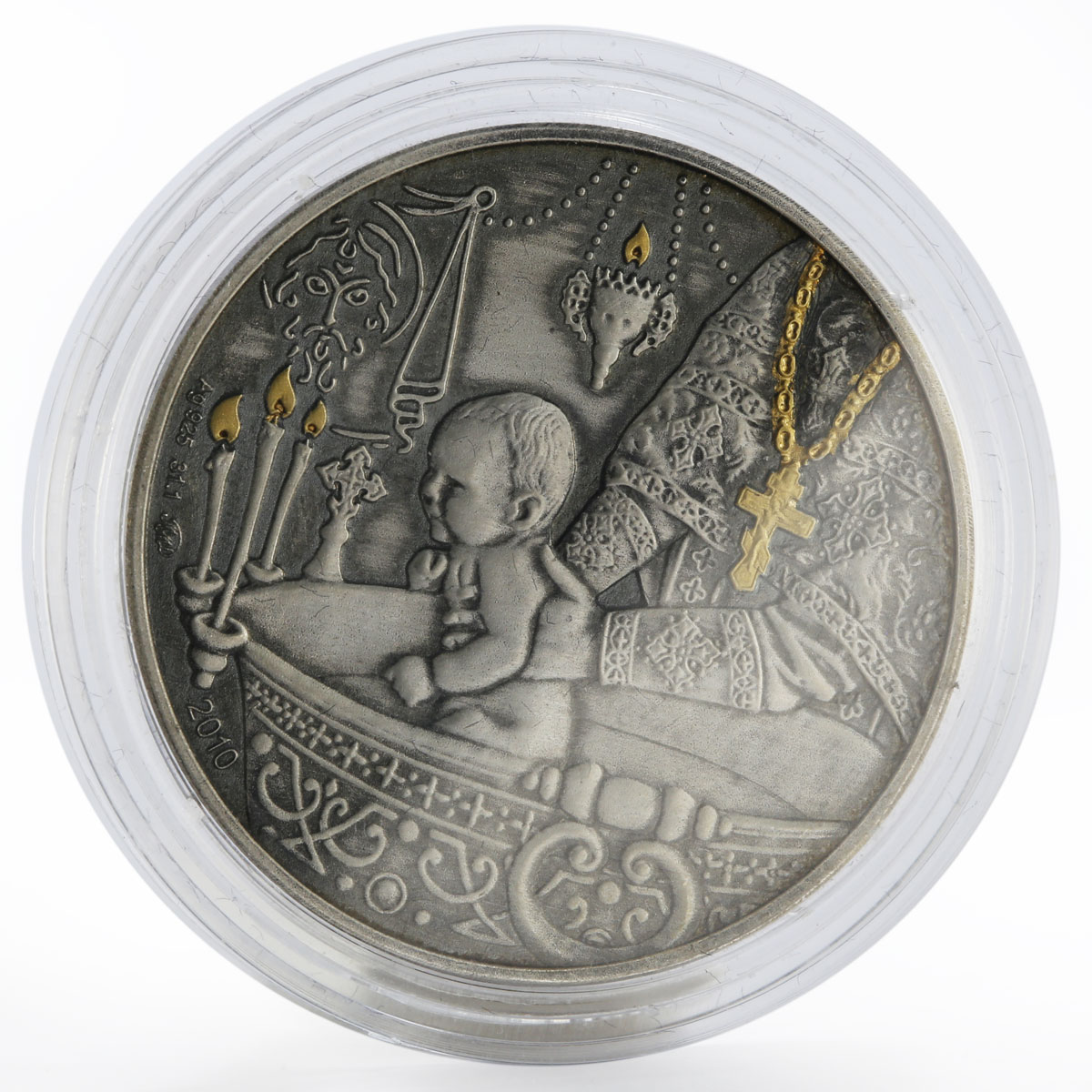 Congo 1000 francs Baptizing of Child gilded silver coin 2010
