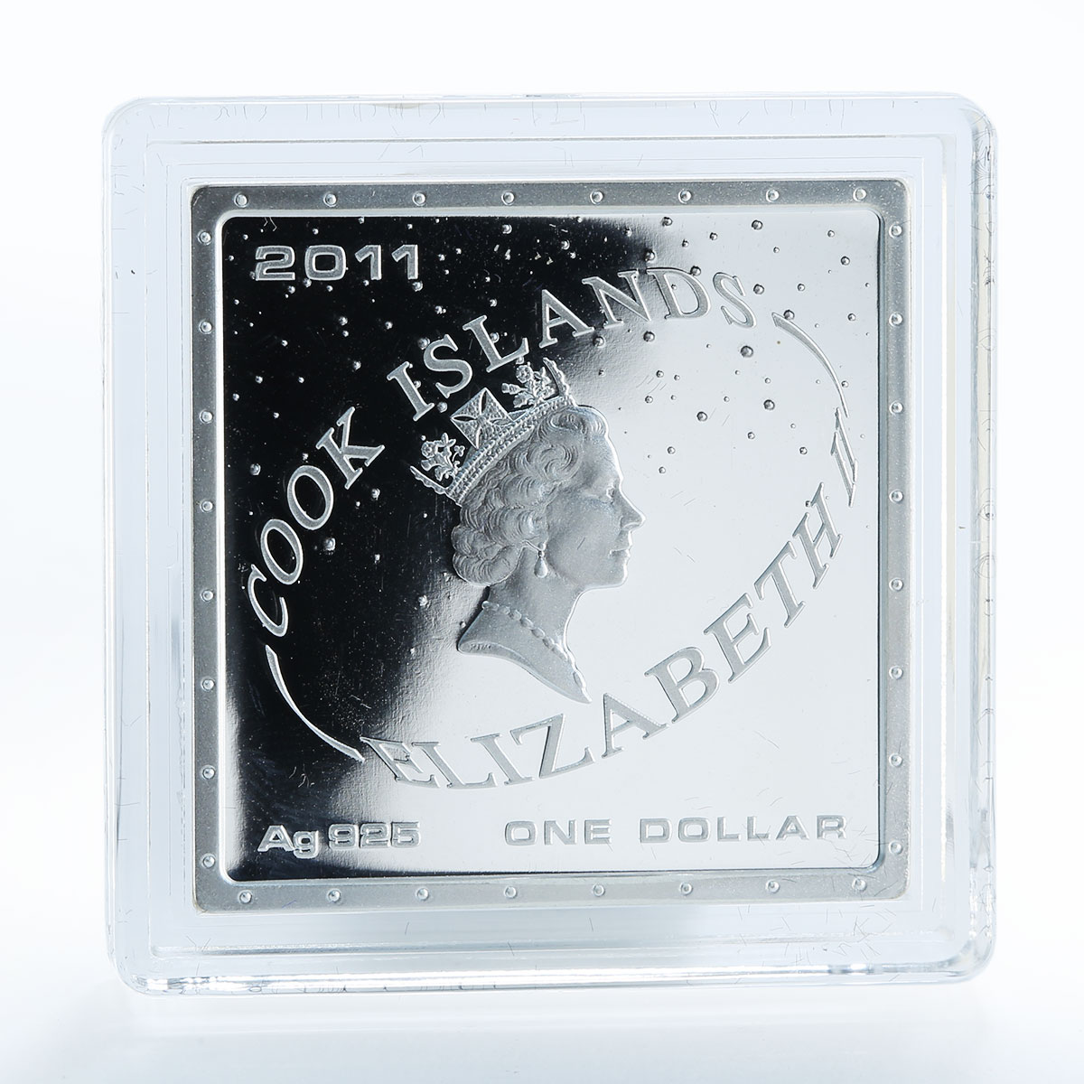Cook Island 1 Dollar First Man in Space Gagarin square Silver Coloured Coin 2011