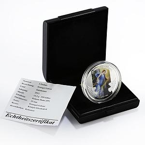 Solomon Islands 5 dollars Archangel Gabriel colored proof silver coin 2011