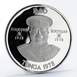 Tonga 2 pa'anga FAO 60th Birthday Animals and Grains proof silver coin 1978