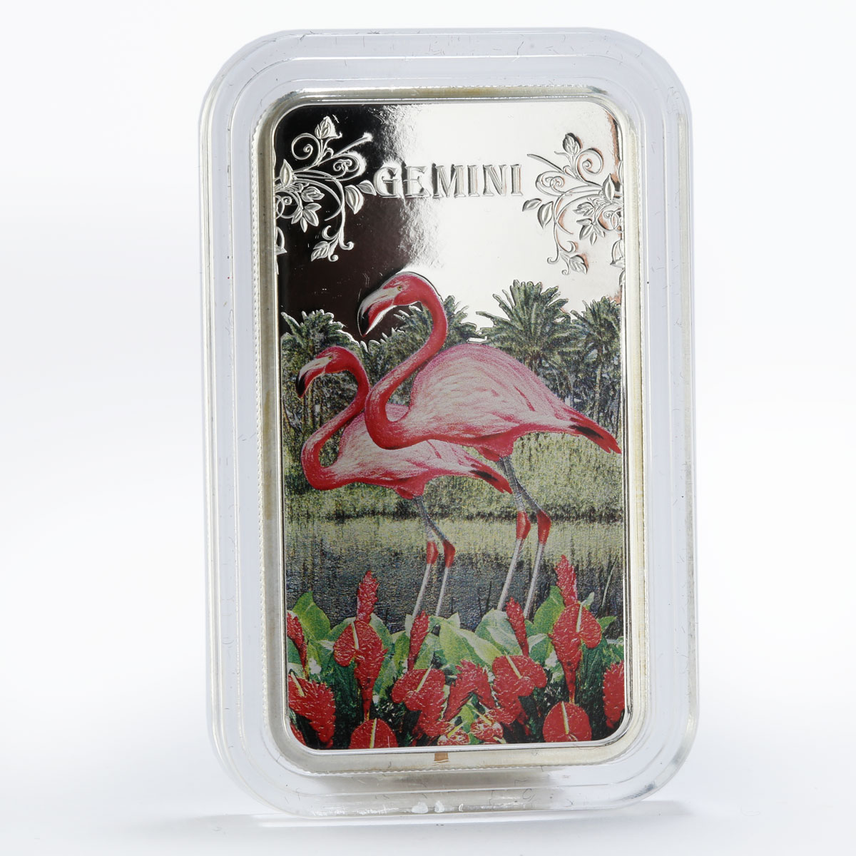 Cook Islands 1 dollar Gemini Two flamingos colored proof silver coin 2014