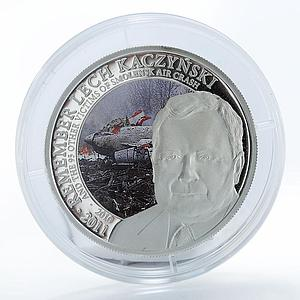 Cook Island, 2011, 2 dollars, Remember Lech Kaczynski, plane crash at Smolensk