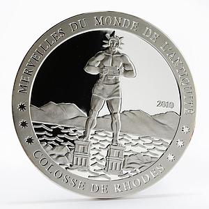 Ivory Coast 1500 francs Ancient Wonder Colossus of Rhodes proof silver coin 2010