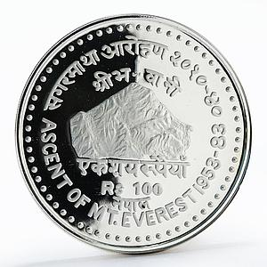 Nepal 100 rupees 30th Anniversary First Ascent of Everest proof silver coin 1983
