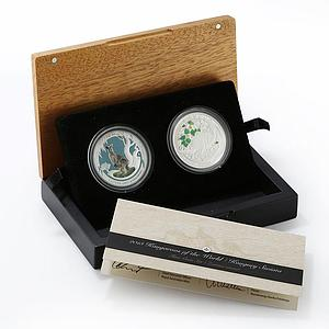 Australia Poland set of 2 coins Kangaroo colored proof silver coin 2013