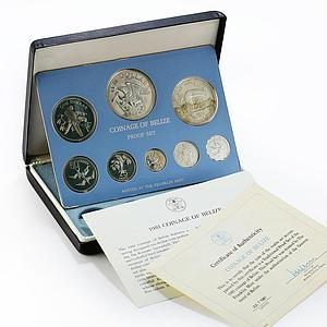 Belize set of 8 coins Birds of mangrove swamps proof silver coin 1981