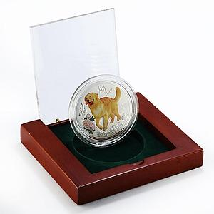 Niue 5 dollars Lunar Year of Dog Labrador 5 oz colored proof silver coin 2006