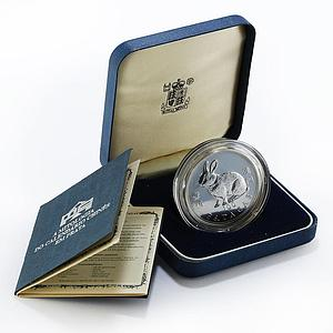Macau 100 patacas Year of the Rabbit proof silver coin 1999