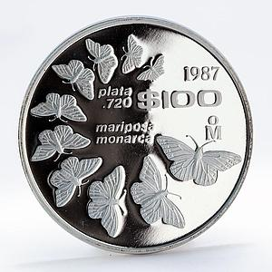 Mexico 100 pesos Monarch butterflies Fauna proof silver coin 1987