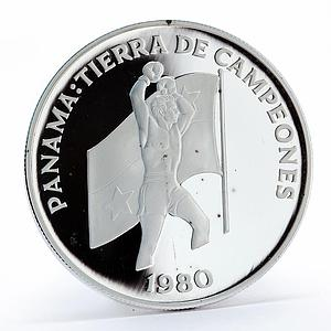 Panama 5 balboas Land of Champions Boxer proof silver coin 1980