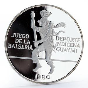 Panama 10 balboas Balseria game Guaymi Indigenous Sports proof silver coin 1980